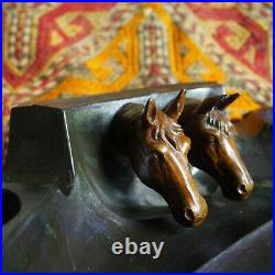 Antique Black Horse Stallion Head Derby Calligraphy Ink Fountain Pen Inkwell Old