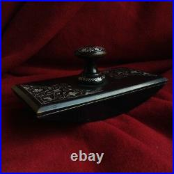 Antique Calligraphy Ink Blotter Fountain Pen Inlaid Silver Artwork Montblanc Old