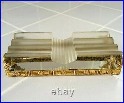 Antique FRENCH Art Deco Metal Fountain Pen Stand Rest + Gilt and Crystal RARE