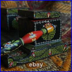 Antique Handpainted Dance Matyo Calligraphy Ink Fountain Pen Inkwell Artwork Old