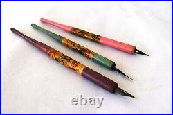 Antique Wooden Fountain Pen With Metal Nibs Inkwell Ink Dipping Pen Jayhind F