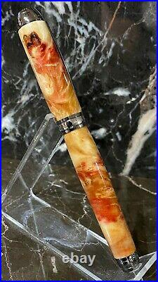Beautiful Inflamed Box Elder Burl Wood Fountain Pen by HTC Creations