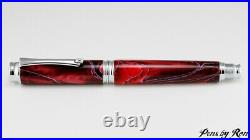 Beautiful red mesh resin on a handcrafted fountain pen with chrome accents