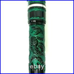 Benu Green Tattoo Fountain Pen Broad Nib Unique Hand Made Mint with Notebook A6