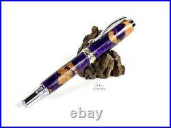 Buckeye Burl Wood Pen Purple Pearl Hybrid Fountain Chrome Gold Hand Made Turned