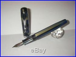 Celluloid checkerboard blue/gold fountain pen Stylo HandMade Penna Stilograf