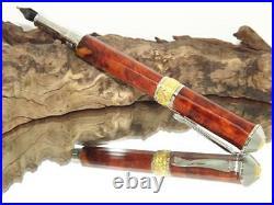Chic Broadwell Nouveau sceptre rhodium/22kt gold Fountain Pen A56, amboyna burl