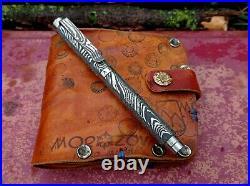 Engraved titanium pen Damascus, EDC gear. Handmade from Russia fountain pen