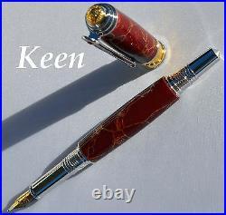 Fj Keen Handmade TruStone Maroon Gold Matrix Broadwell Art Deco Fountain Pen