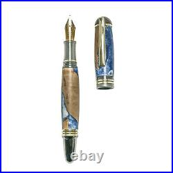 Fountain Pen, Handmade of Olive Wood & Blue Color Epoxy Resin, Praxis Design
