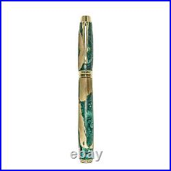 Fountain Pen, Handmade of Olive Wood & Green Color Epoxy Resin, Lexis Design