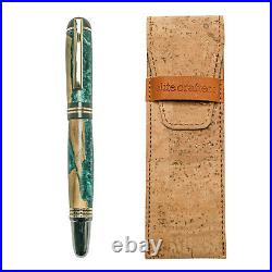 Fountain Pen, Handmade of Olive Wood & Green Color Epoxy Resin, Praxis Design