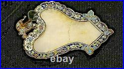 French Antique Victorian Enameled fountain pen holder marble desk tray
