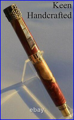 Ge Keen Handcrafted Rich Burgundy Hybrid Music Antique Brass Fountain Pen