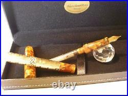 Golden Overlay Blancheur Fountain Pen Stylo 18Kt Hand Made Pump-fill
