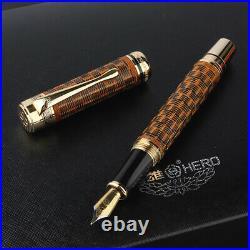 HERO H671 Handmade Fountain Pen Bamboo Weaving Skills Fine 0.5mmWriting Gift Set