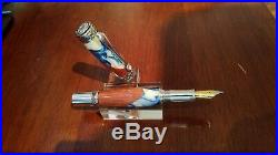 Hand Made Fountain Pen, Ice Blue and Angelique Wood w Rhodium and Black Titanium