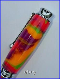 Hand Turned Omega Fountain Pen PRIDE Colourway. Handmade in Devon