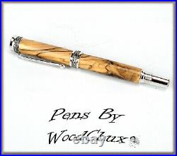 HandMade Writing Pen Ball Point Fountain Bethlehem Olive Wood SEE VIDEO 1087a