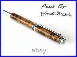 HandMade Writing Pen Ball Point Fountain Black Ash Burl Wood ART SEE VICEO 1092