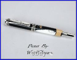 HandMade Writing Pen Ball Point Fountain Maple Burl Wood SEE VIDEO 1214a