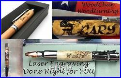 HandMade Writing Pen Ball Point Fountain Red Mallee Burl Wood Pens VIDEO 1086a