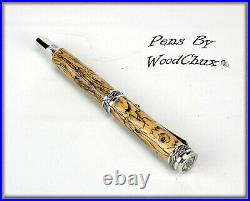 HandMade Writing Pen Ball Point Fountain Spalted Tamarind Wood SEE VIDEO 1089a