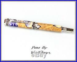 HandMade Writing Pen Fountain Wooden Pen Resin & Maple Burl Wood SEE VIDEO 872