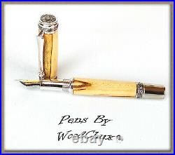 Handmade Ambrosia Maple Wood Writing Rollerball Or Fountain Pen SEE VIDEO 843a