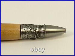 Handmade Antique PewterAccented & Maple Wood Body Fly Fishing Twist Tip Pen