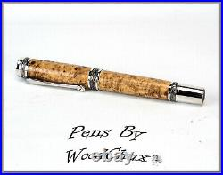Handmade Black Ash Burl Wood Rollerball Or Fountain Pen ART SEE VIDEO 1080
