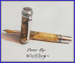 Handmade Boxelder Burl Wood Writing Rollerball Or Fountain Pen SEE VIDEO 828