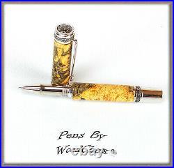 Handmade Boxelder Burl Wood Writing Rollerball Or Fountain Pen SEE VIDEO 828a