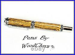 Handmade Exotic Bocote Wood Rollerball Or Fountain Pen ART SEE VIDEO 1126a