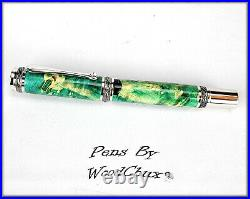 Handmade Exotic Maple Burl Wood Rollerball Or Fountain Pen ART SEE VIDEO 1140a