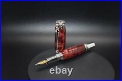 Handmade Fountain Pen, Dyed Maple Burl, Majestic