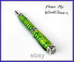 Handmade Green Aluminum Matrix Rollerball Or Fountain Pens ART SEE VIDEO 1084a