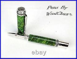 Handmade Green Boxelder Wood Rollerball Or Fountain Pen ART SEE VIDEO 1138a