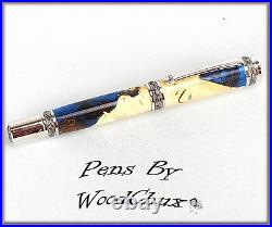 Handmade Maple Wood & Resin Writing Rollerball Or Fountain Pen SEE VIDEO 1052a