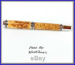 Handmade Rare Black Ash Burl Wood Writing Rollerball Fountain Pen SEE VIDEO 833a