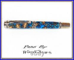 Handmade Rare Blue Pine Cone Writing Rollerball Fountain Pen SEE VIDEO 869