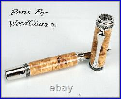 Handmade Rare Maple Burl Wood Rollerball Or Fountain Pen ART SEE VIDEO 1129a