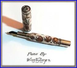 Handmade Rare White Pine Cone Writing Rollerball Fountain Pen SEE VIDEO 870