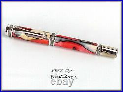 Handmade Red White Swirl Writing Rollerball Or Fountain Pen Art SEE VIDEO 825