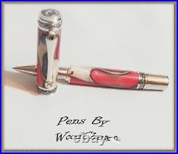 Handmade Red White Swirl Writing Rollerball Or Fountain Pen Art SEE VIDEO 825a