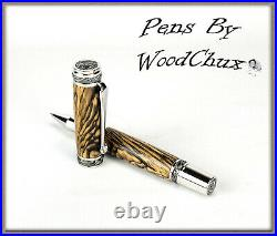Handmade Spalted Tamarind Wood Rollerball Or Fountain Pens ART SEE VIDEO 1079a