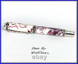 Handmade Strawberry Swirl Writing Rollerball Or Fountain Pen Art SEE VIDEO 823