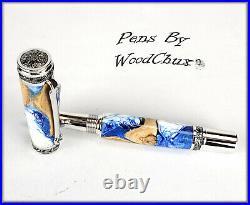 Handmade Stunning Maple Burl Wood Rollerball Or Fountain Pen ART SEE VIDEO 1172a