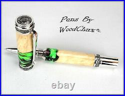Handmade Stunning Maple Burl Wood Rollerball Or Fountain Pen ART SEE VIDEO 1175a