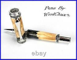 Handmade Stunning Maple Burl Wood Rollerball Or Fountain Pen ART SEE VIDEO 1224a
